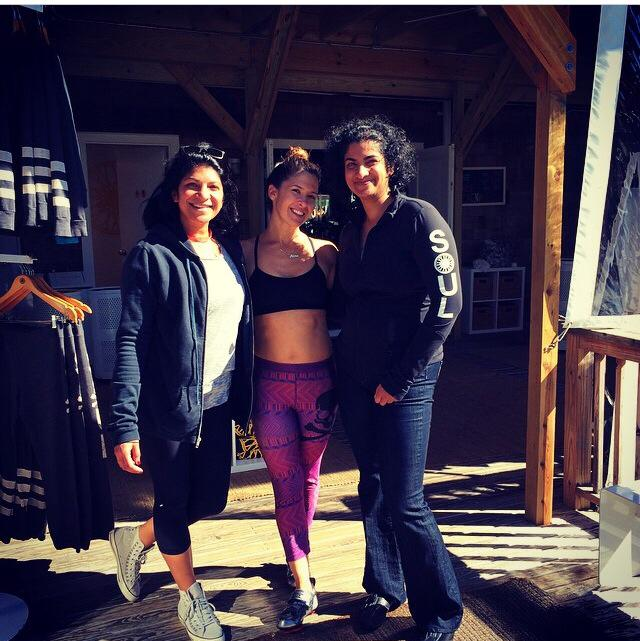 With Nina and Sunny after class at 'The Barn' in Bridgehampton, NY